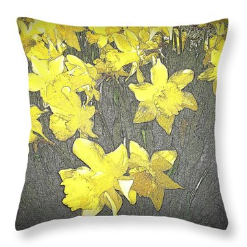 Daffodil 2-pencil Etch Throw Pillow