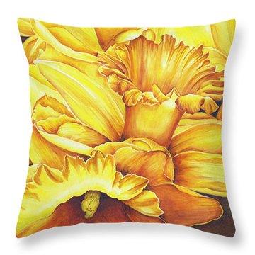 Daffodil Drama Throw Pillow