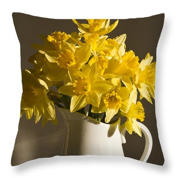 Daffodil Filled Jug Throw Pillow by Sandra Foster