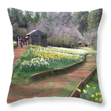 Daffodil Hill Pathway Throw Pillow