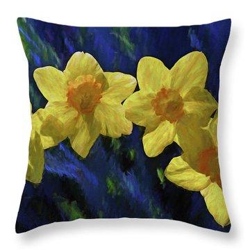 Daffodil Quartet Throw Pillow