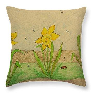 Daffodil Spring Throw Pillow