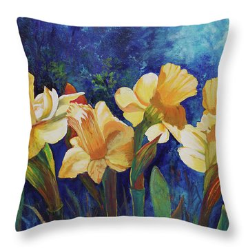 Daffodils Throw Pillow by Alika Kumar