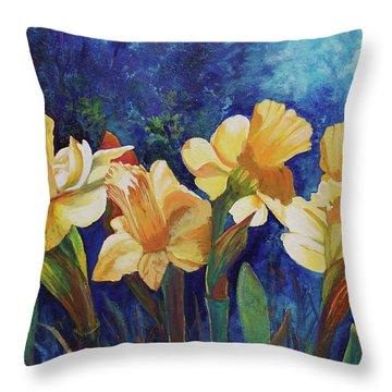 Daffodils Throw Pillow by Alika Kumar