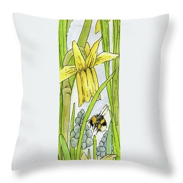 Daffodils And Bees Throw Pillow