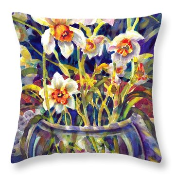 Daffodils And Lace Throw Pillow