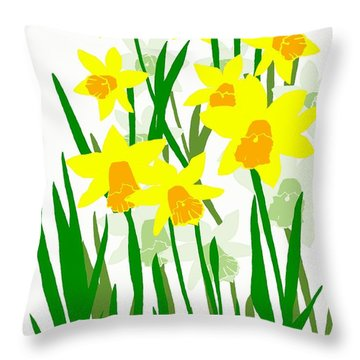 Throw Pillow featuring the digital art Daffodils Drawing by Barbara Moignard