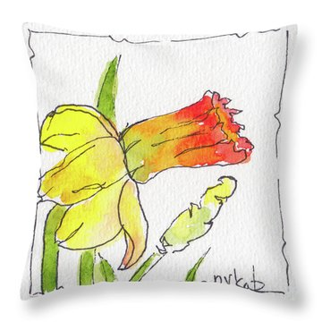 Throw Pillow featuring the painting Daffodils In January by Pat Katz