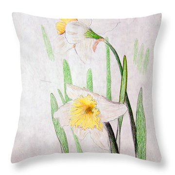Daffodils Throw Pillow by J R Seymour