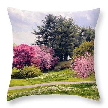 Throw Pillow featuring the photograph Daffodils On A Hill by Jessica Jenney