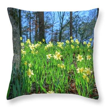 Daffodils On Hillside 2 Throw Pillow