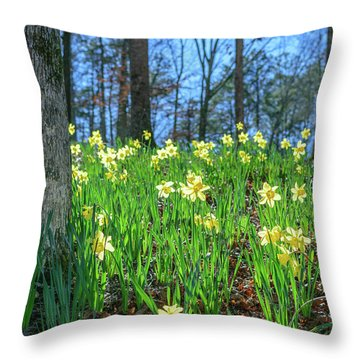 Daffodils On Hillside 2 Throw Pillow