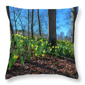 Daffodils On Hillside Throw Pillow