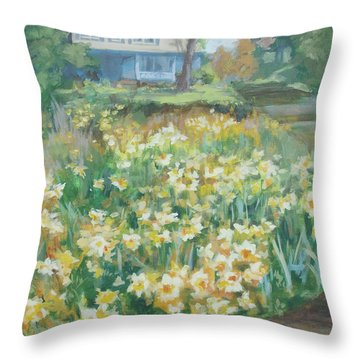 Daffodils On The Corner Throw Pillow by Carol Strickland