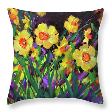 Daffodils On Violet Throw Pillow