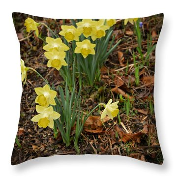 Daffodils With A Purple Flower Throw Pillow