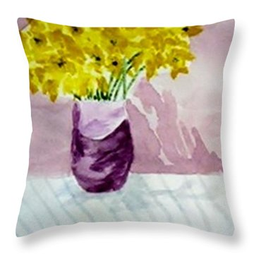 Throw Pillow featuring the painting Daffs by Jamie Frier