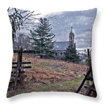 Dahlgren Chapel Winter Scene Throw Pillow
