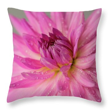 Throw Pillow featuring the photograph Dahlia After The Rain by Mary Jo Allen
