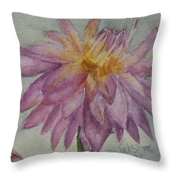 Throw Pillow featuring the painting Dahlia At Eastport Me by Donna Walsh
