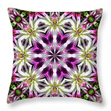 Dahlia Flower Circle Throw Pillow