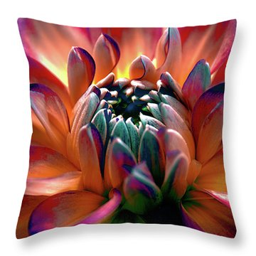 Throw Pillow featuring the photograph Dahlia Multi Colored Squared by Julie Palencia