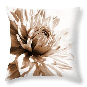 Dahlia Sepial Flower Throw Pillow by Jennie Marie Schell