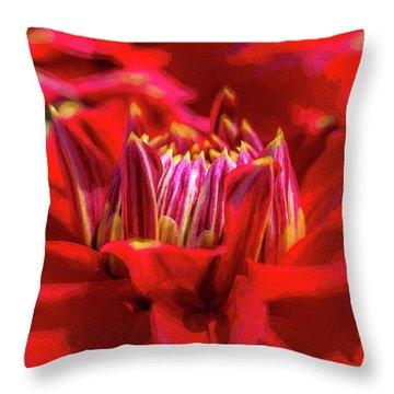 Dahlia Study 1 Painterly Throw Pillow