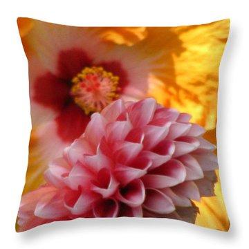 Dahlia With Hibiscus Throw Pillow