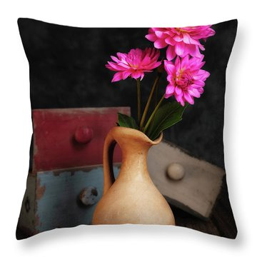 Dahlias And Drawers Throw Pillow