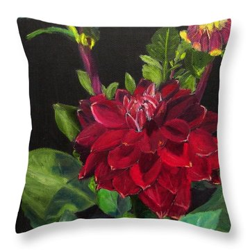 Throw Pillow featuring the painting Dahlias In My Garden by Linda Feinberg