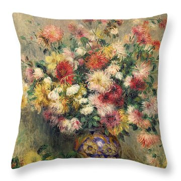 Dahlias Throw Pillow by Pierre Auguste Renoir