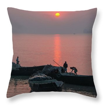 Daily Chores On The River Throw Pillow