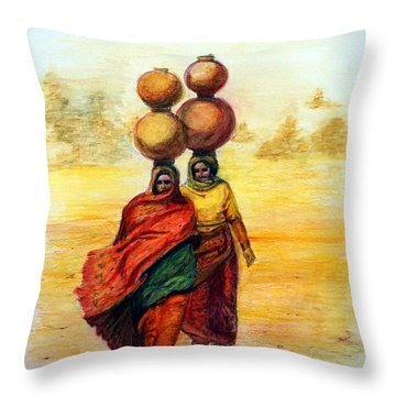 Daily Desert Dance Throw Pillow by Alika Kumar