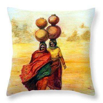 Daily Desert Dance Throw Pillow by Alika Kumar