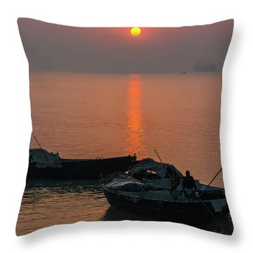 Daily Life Of Boatman Throw Pillow