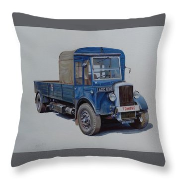 Throw Pillow featuring the painting Daimler Wrecker Btc by Mike Jeffries