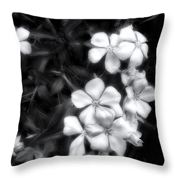 Dainty Blooms - Black And White Photograph Throw Pillow by Ann Powell
