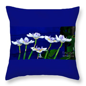 Dainty White Irises All In A Row Throw Pillow