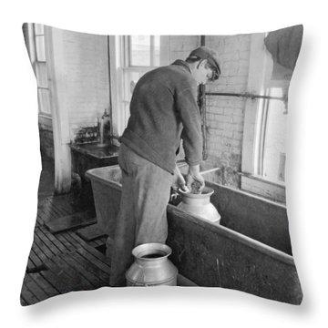 Dairy Farmer At Work Throw Pillow