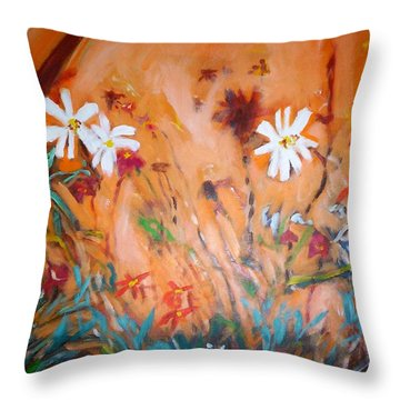 Daisies Along The Fence Throw Pillow