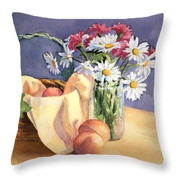 Daisies And Peaches Throw Pillow