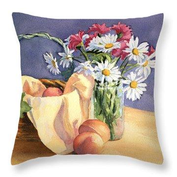 Daisies And Peaches Throw Pillow by Vikki Bouffard