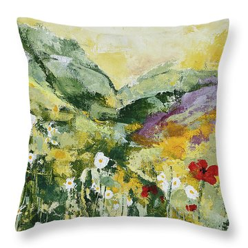 Daisies And Poppies Throw Pillow