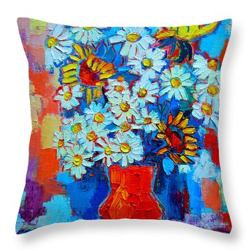 Daisies And Sunflowers Throw Pillow by Ana Maria Edulescu