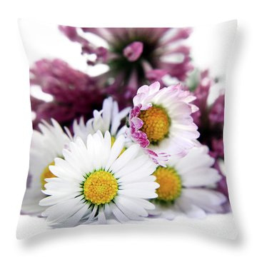 Daisies In Clover Throw Pillow by Terri Waters