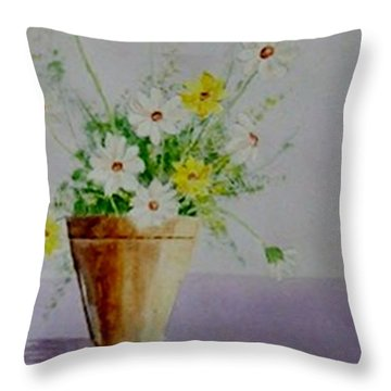 Throw Pillow featuring the painting Daisies In Pot by Jamie Frier