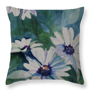 Daisies In The Blue Throw Pillow by Gretchen Bjornson