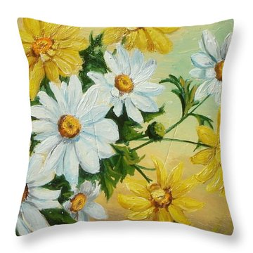Throw Pillow featuring the painting Daisies In The Sky by Sorin Apostolescu