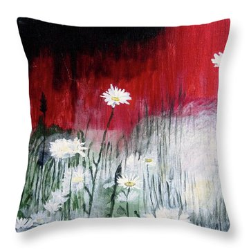 Throw Pillow featuring the painting Daisies by Mary Ellen Frazee